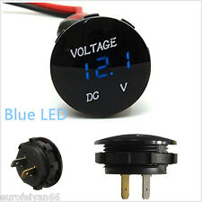 Mini Round Automobiles 6-30V Blue LED Digital Display Voltmeter Gauge Meter Kit