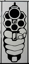 Hand Gun Revolver sticker decal cars fun stickers van bumper decal 5405 Black