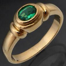 Contemporary Bezel Set Oval GREEN EMERALD 9K Solid Yellow GOLD RING estate Sz N
