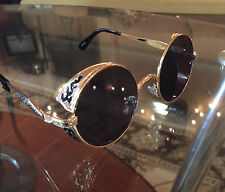 Vintage Retro Designer Round Shades Sunglasses Black and Gold NEW