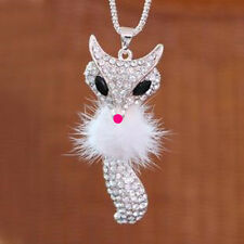Fashion Silver Plated Crystal Fox Pendant Long Necklace Sweater Chain Jewelry