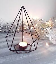 NEW! Modern Black Metal Pyramid Tea Light Candle Holder Geometric Contemporary