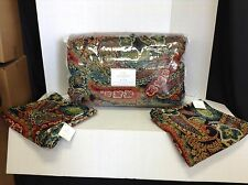 Pottery Barn Gwenn Printed Velvet Paisley Bed Quilt F/Q Queen 2 Pillow Covers 24
