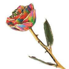 Flowers & Leaves Lacquer Dipped 24K Gold Trim Single Stem Paradise Rose