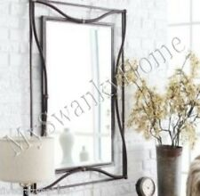 Contemporary BRONZE IRON Wall Mirror Antique Mantle Vanity Metal Luxe HORCHOW