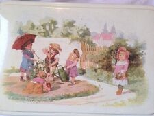 Vintage Massilly French Garden Tin Hinged Box with Children Made in France
