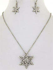 93s Silvertone Clear Crystal Snowflake Necklace Set Gift Boxed