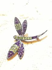 Vintage Gemstone Amethyst Real Peridot Dragonfly 925 Sterling Silver Pin