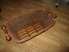 "Long basket pole handles 28"" l 10"" d 15"" w FABULOUS multi purpose sturdy wicker"