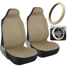 Beige Tan HighBack Bucket Seat Covers for Auto Car SUV w/ Steering Wheel Cover