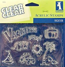 NEW INKADINKADO CLEAR STAMP SET VACATION CAMERA SUITCASE SUN PALM TREE 95261