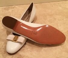SALVATORE FERRAGAMO Winter White Gold Vara Bow Leather Flats 8.5 4A Italy NEW!!!