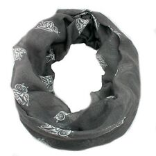 OWLS INFINITY ROUND DOUBLE LOOP SCARF , GREY, US SELLER, FAST SHIPPING