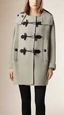 Burberry Anbridge Wool Cashmere Duffle Coat, Light Grey, Small