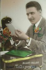 cpa art deco ancien telephone homme postcard phone men AK telefon carte postale