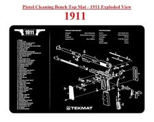 TekMat Gun Cleaning Bench Mat - 1911 Pistol - Black Rubber Backed - 11W x 17L