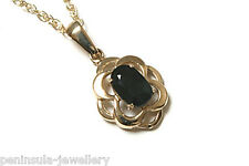 9ct Gold Celtic style Sapphire Pendant and Chain Made in UK Gift Boxed