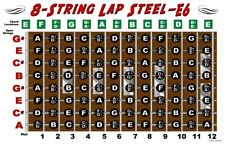 8 String Lap Steel Guitar Chart Poster E6 Tuning Notes Fingerboard