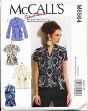 MCCALL'S SEWING PATTERN 6564 MISSES SZ 14-22 WRAP TOPS/BLOUSES W/ FRONT PLEATS