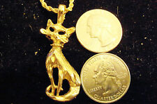 """bling gold plated cat pet kitten pendant charm 24"""" rope chain hip hop necklace"""