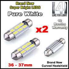 BMW E46 E39 E60 E90 Pure White LED Number Plate Lights Bulbs 36mm - Super Bright