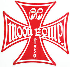 Moon Equipped Iron Cross Red Small Decal Adhesive on Back