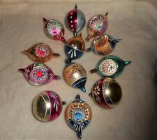 12 VTG FANCY POLAND GLASS XMAS TREE ORNAMENTS SOME Tear Drops INDENT SHAPES