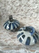 """Pair Of """"Tozai Home"""" Covered Trinket Dishes Owl/Fish Blue/Grey"""