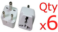 6PK US EU UK To India Round Pin Plug Adapter Converter