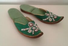 Vintage Turkish Slippers Curled Toe Green Beaded