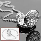 Antique Charm Silver Hollow Quartz Pocket Watch Pendant Necklace Chain Xmas Gift