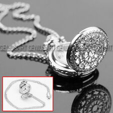 1*Antique Charm Silver Hollow Quartz Pocket Spider Web Watch Necklace New Design