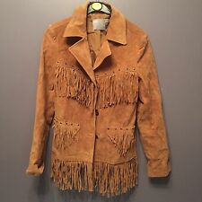 BNWT ASOS TAN SUEDE LEATHER WESTERN TASSEL FRINGEJACKET