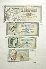 4 different Yugoslavia 1960's-1990's paper money Au-Unc.