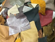 1 Pound Mixed Cow hide Scrap Leather Pieces, Mixed Colors and Weights #144-21