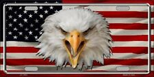 Bald Eagle with US Flag Metal Novelty License Plate Tag