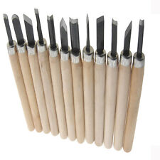 12pcs Wood Handle Carpenters Carving Mini Chisels Lathe Kit