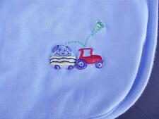 Carter's Baby Blue Cotton Blanket Puppy Dog Tractor Trailer Frog