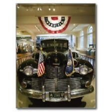 """*Postcard-""""An Old Classic Car on Display w/2 Flags in Front"""""""