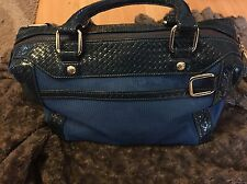 Rebecca Minkoff Morning After Bag In Blue Patent Leather And Mesh Gold Hardware