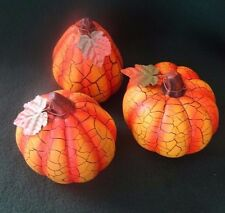 Ceramic Pumpkin Halloween Thanksgiving Fall Harvest Autumn Decor Set of 3