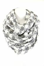 B121 Eternity Houndstooth Gray White Woven Knit Long Infinity Scarf Boutique