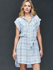 Gap Women's Light Blue Plaid Shirtdress Size XXL