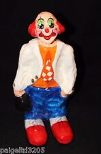 """Vintage Paper Mache Colorful Clown Holding a Black Bag 10"""" Tall"""