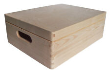 * Natural wood storage crate with lid 40x30x14cm DD169 trunk store display (V)