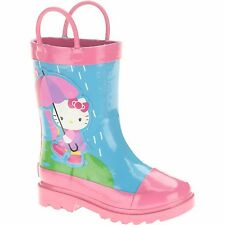 NEW Hello Kitty Toddler Girls Rain Boots Pink Blue Rainbow Umbrella Size 9/10