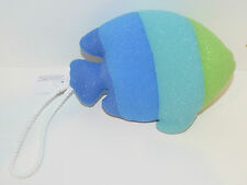 BATH & BODY WORKS STRIPED BLUE GREEN FISH SHOWER SPONGE ROPE STRAP LOOFAH POUF