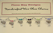 Wine Glass Charm Rings COCKTAILS UNISEX set of 6 - with Swarovski Crystals