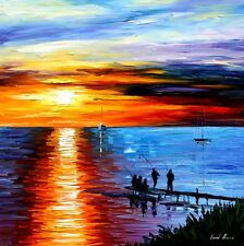 "FISHING WITH FRIEND    —  Oil Painting On Canvas By Leonid Afremov Size: 30""x30"""