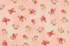 Cottage Shabby Chic Quilt Gate Cotton Fabric Roses RU2220Y-17B Peachy Pink BTY